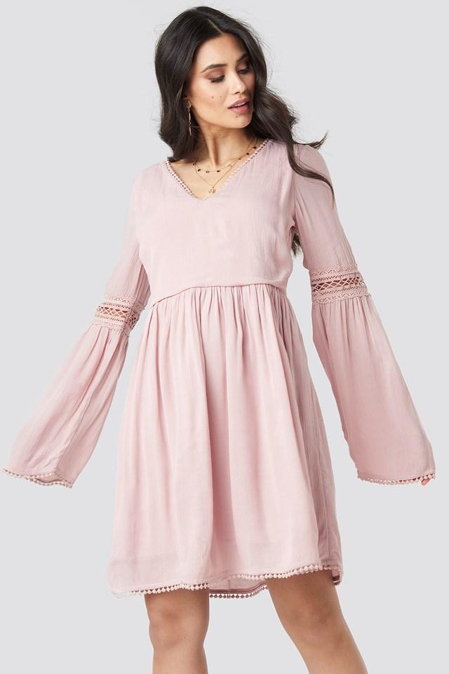 V-neck Pom Pom Dress Dusty Light Pink