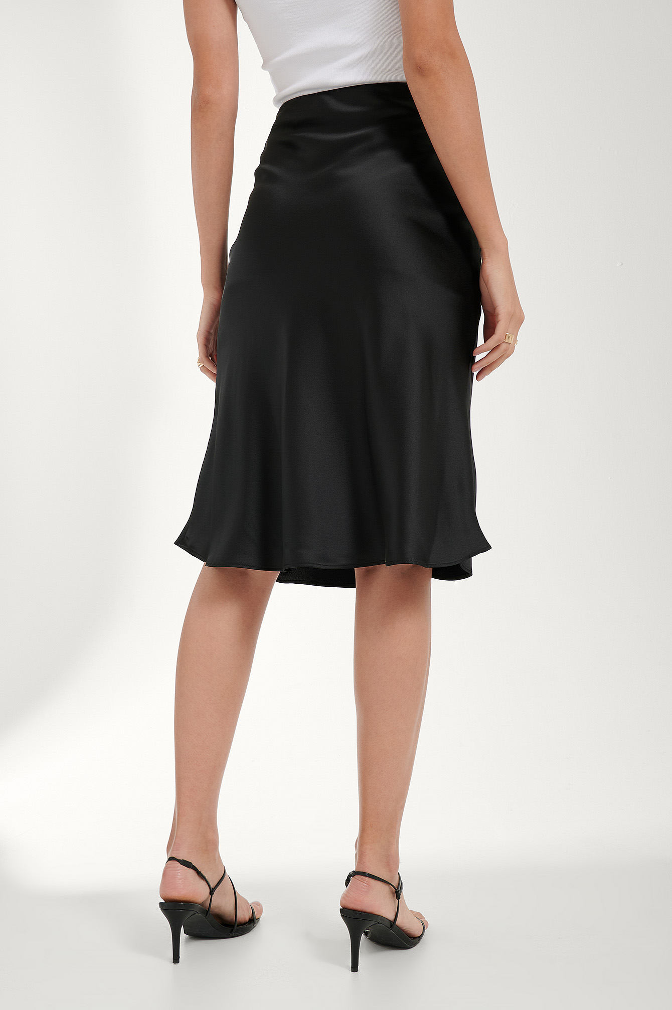 Black Button Detail Satin Skirt