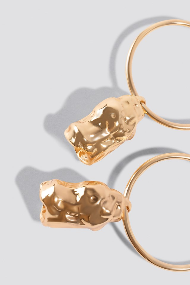 Drop Stone Earring Gold