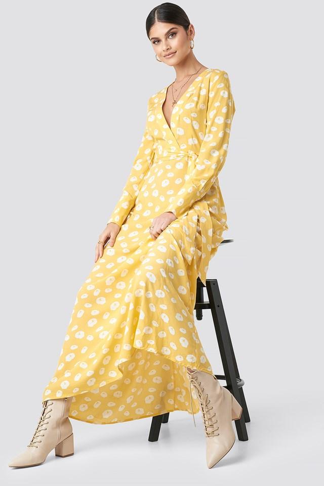 Deep V-neck Maxi Dress Yellow