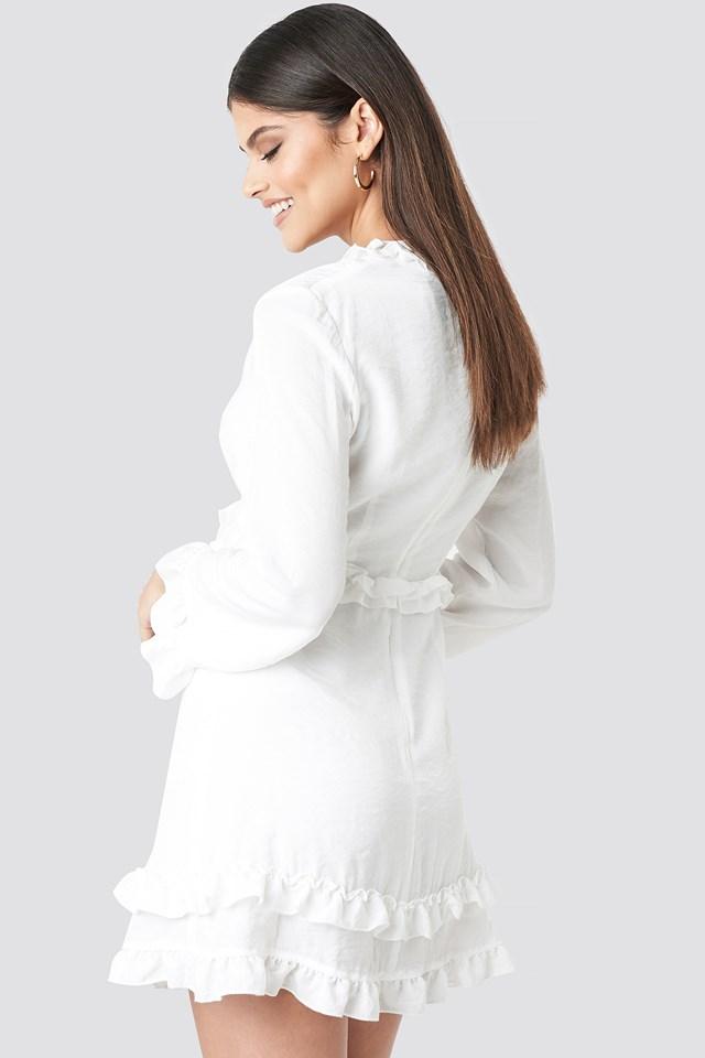 Flounce Mini Dress White