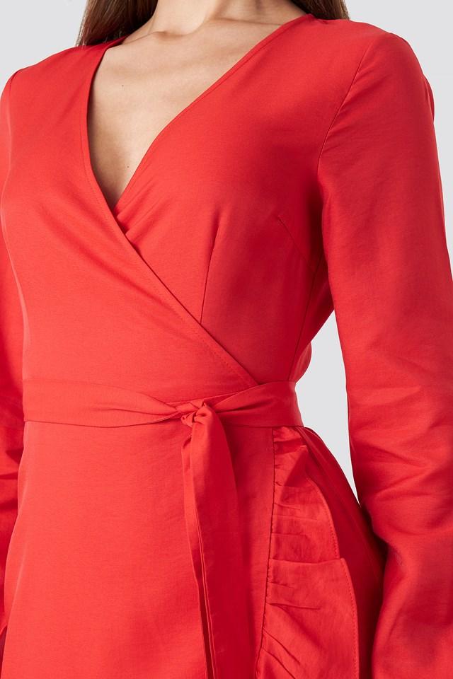 Flounce Overlap Dress Red