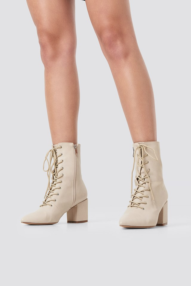 Lined Up Boots Beige