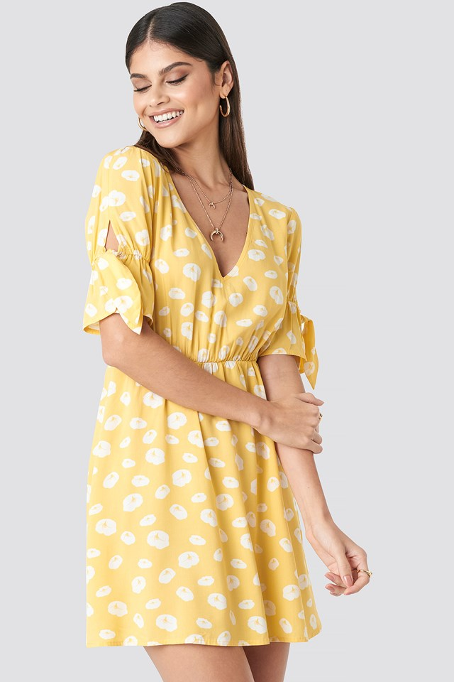 Printed Mini Dress Yellow