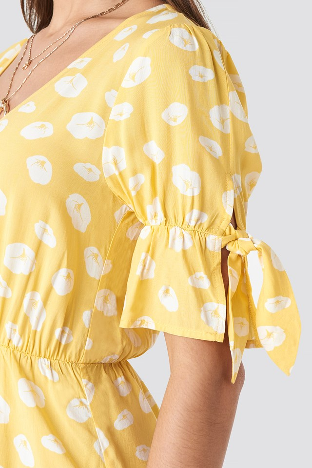 Printed Mini Dress Yellow