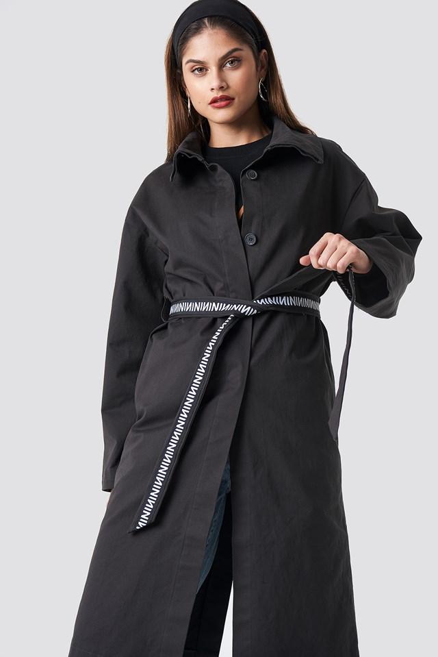 N Branded Sleeve Trench Coat Dark Grey