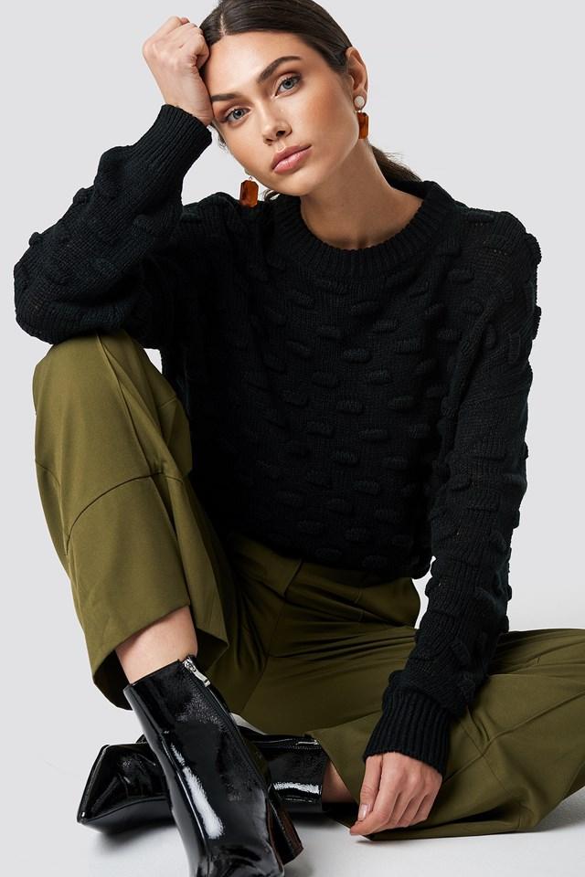 Bubble Stitch Knitted Sweater Black