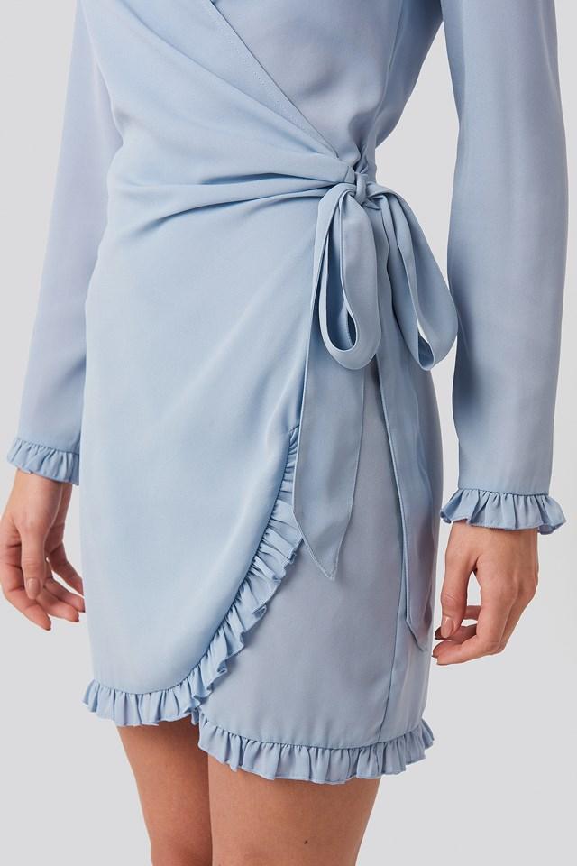 Frill Detail Tie Waist Mini Dress Stone Blue