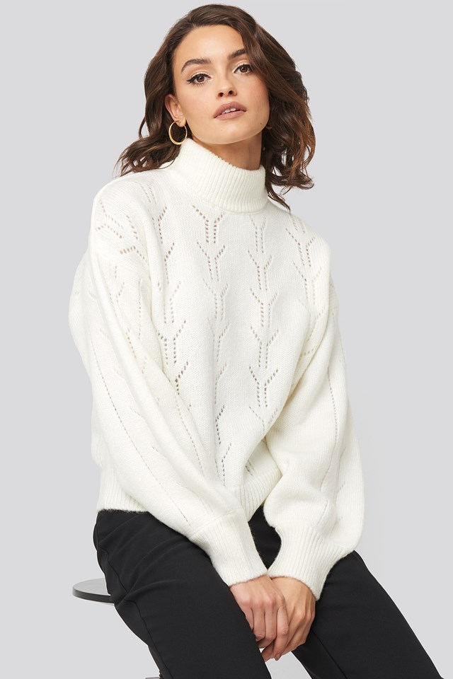 High Neck Balloon Sleeve Knitted Sweater Nadine x NA-KD