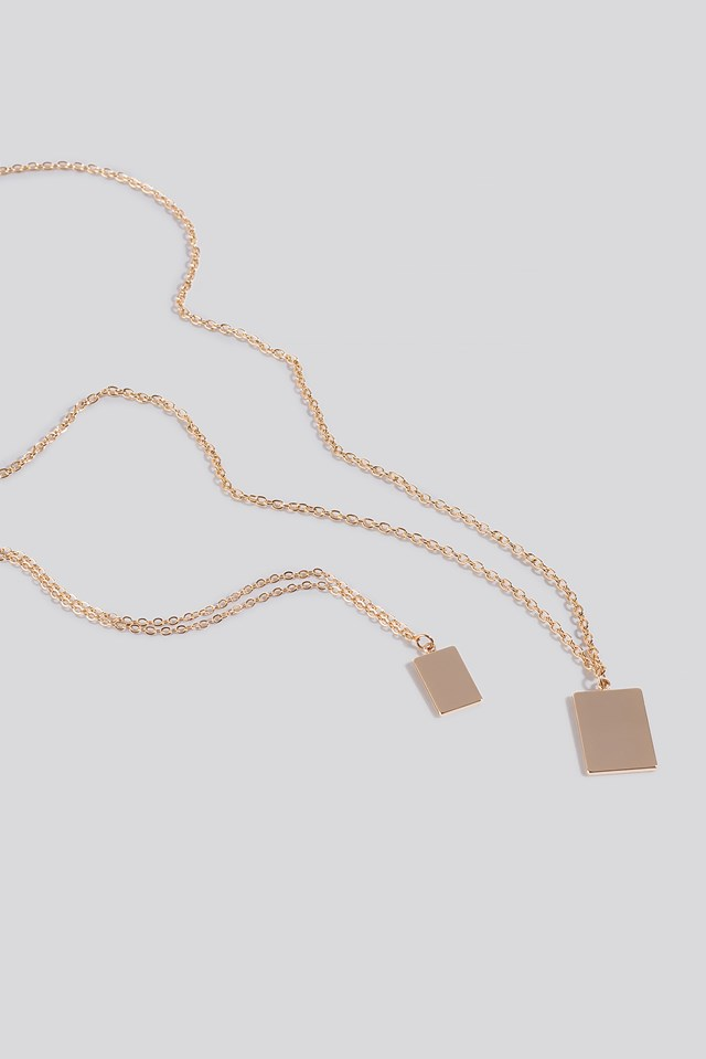 Square Pendant Necklace Gold