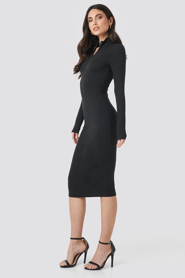 Front Zipper Skin Tight Jersey Dress Black