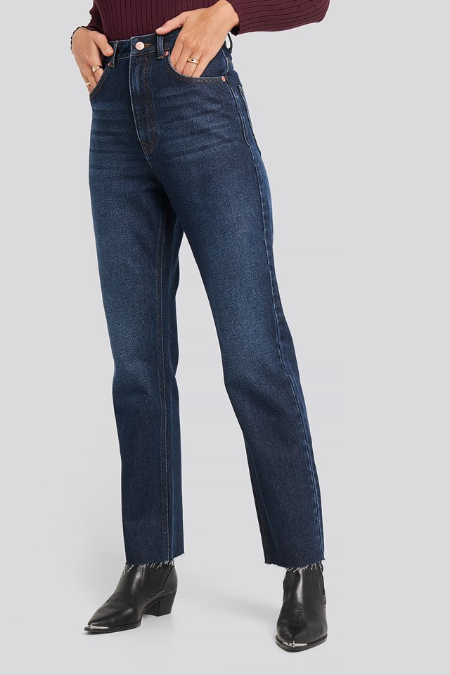 High Waist Raw Hem Straight Jeans Dark Blue