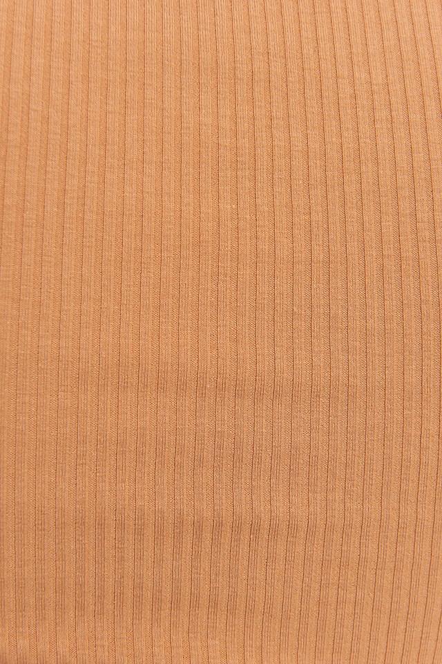 Ribbed Puff Short Sleeve Top Tan