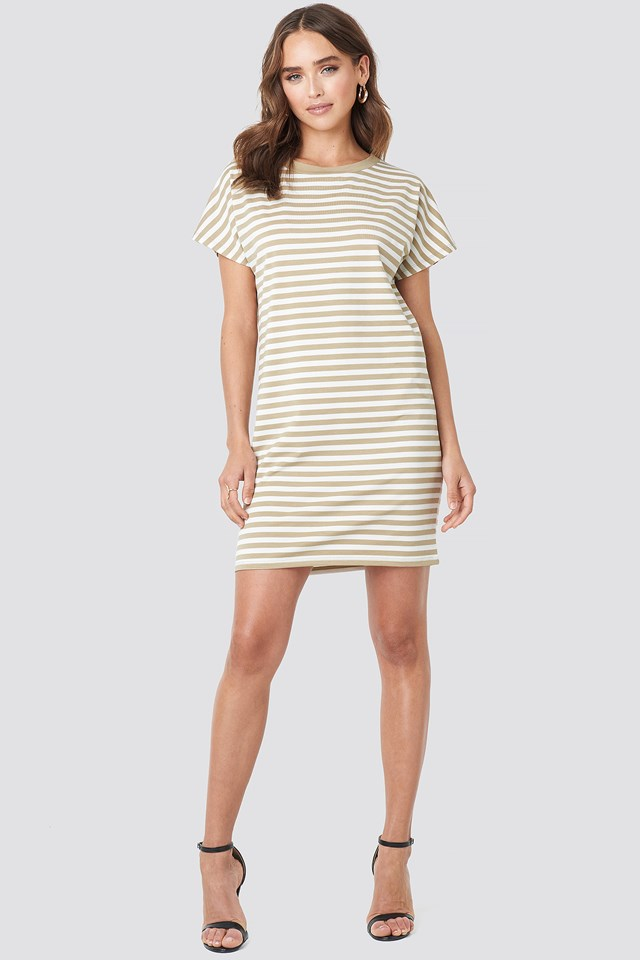Striped Oversized T-shirt Dress Beige