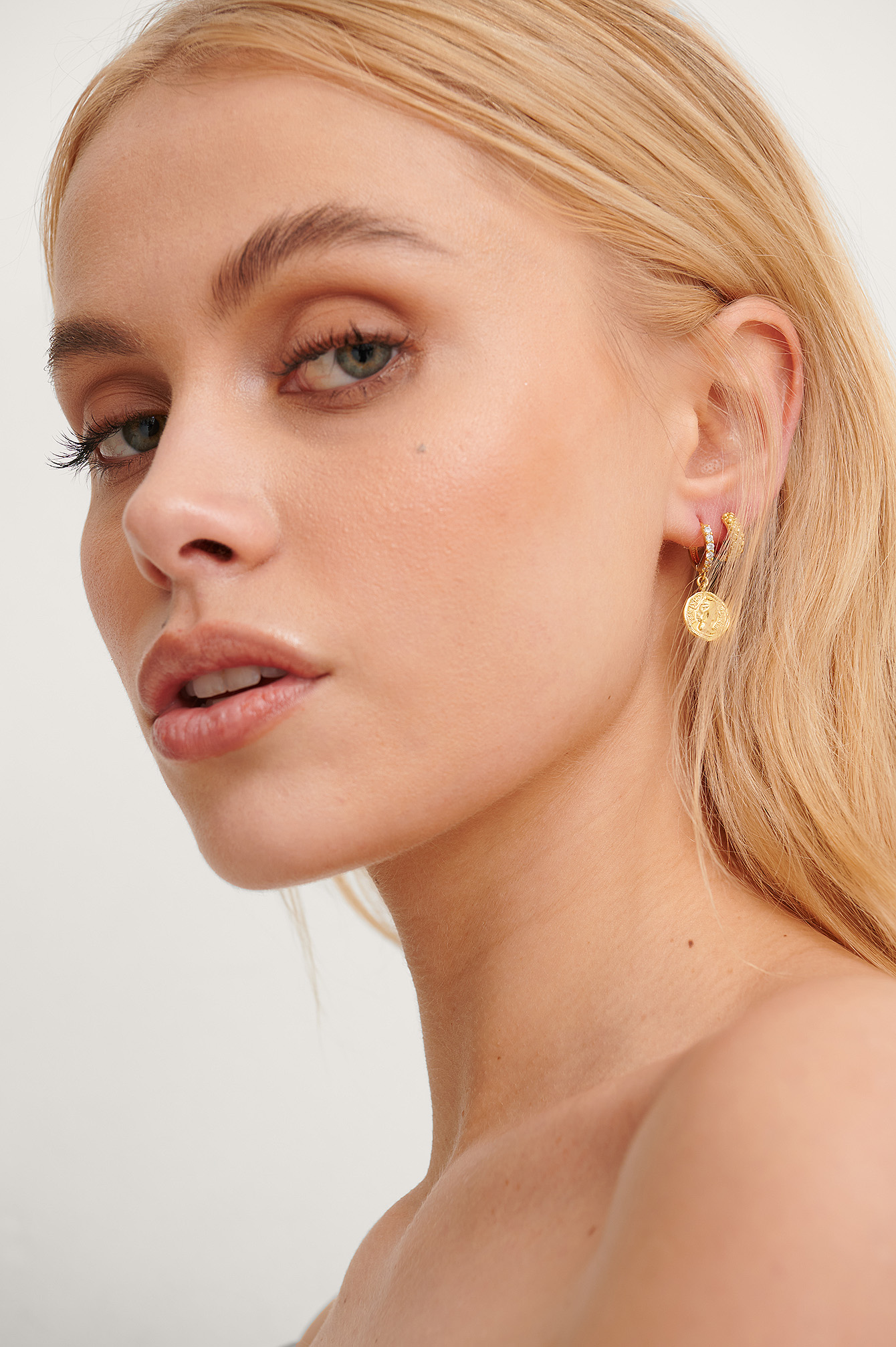 Gold 18K Gold Plated Coin Earrings