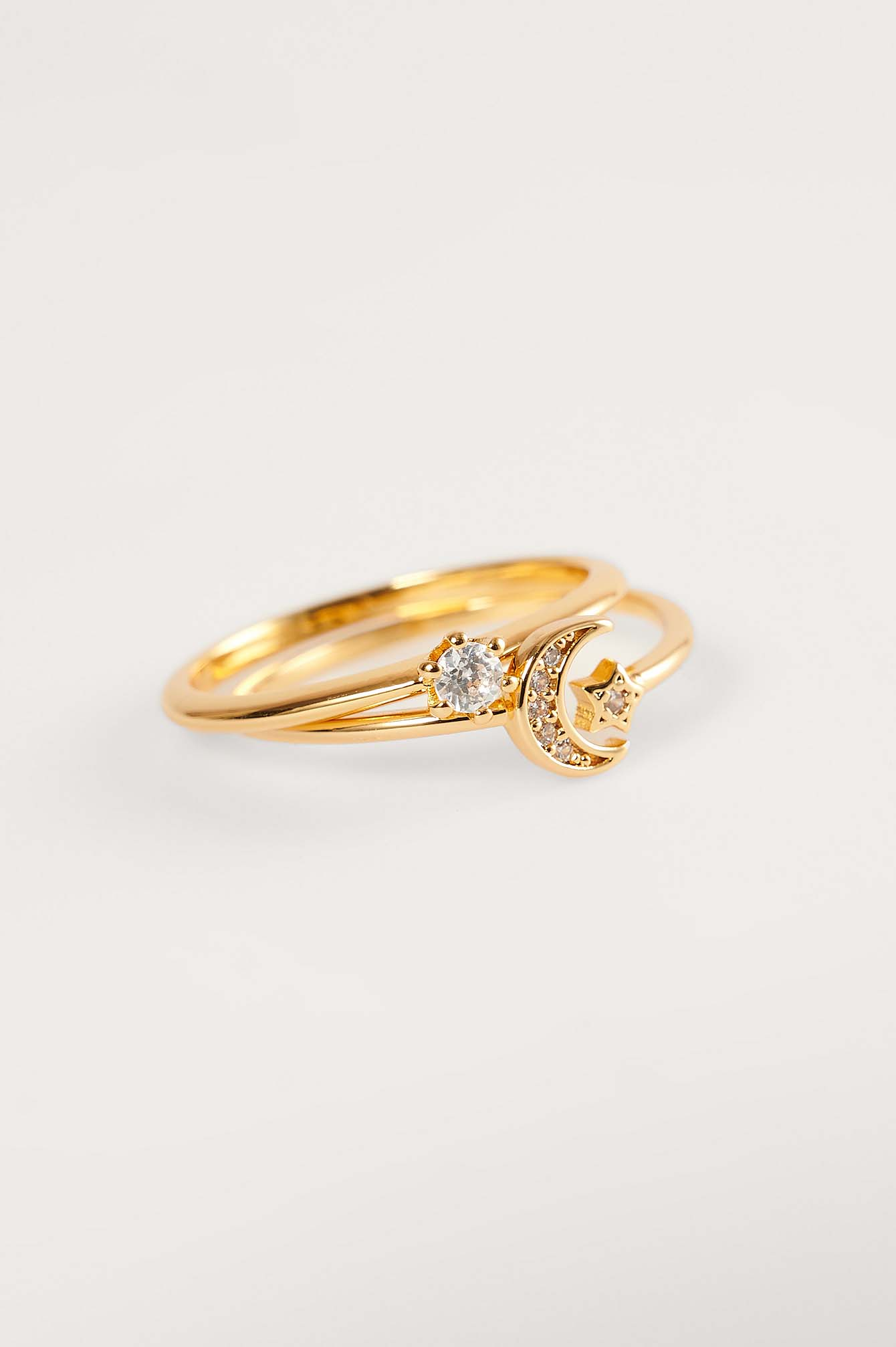 Gold 18K Gold Plated Sparkling Moon Rings