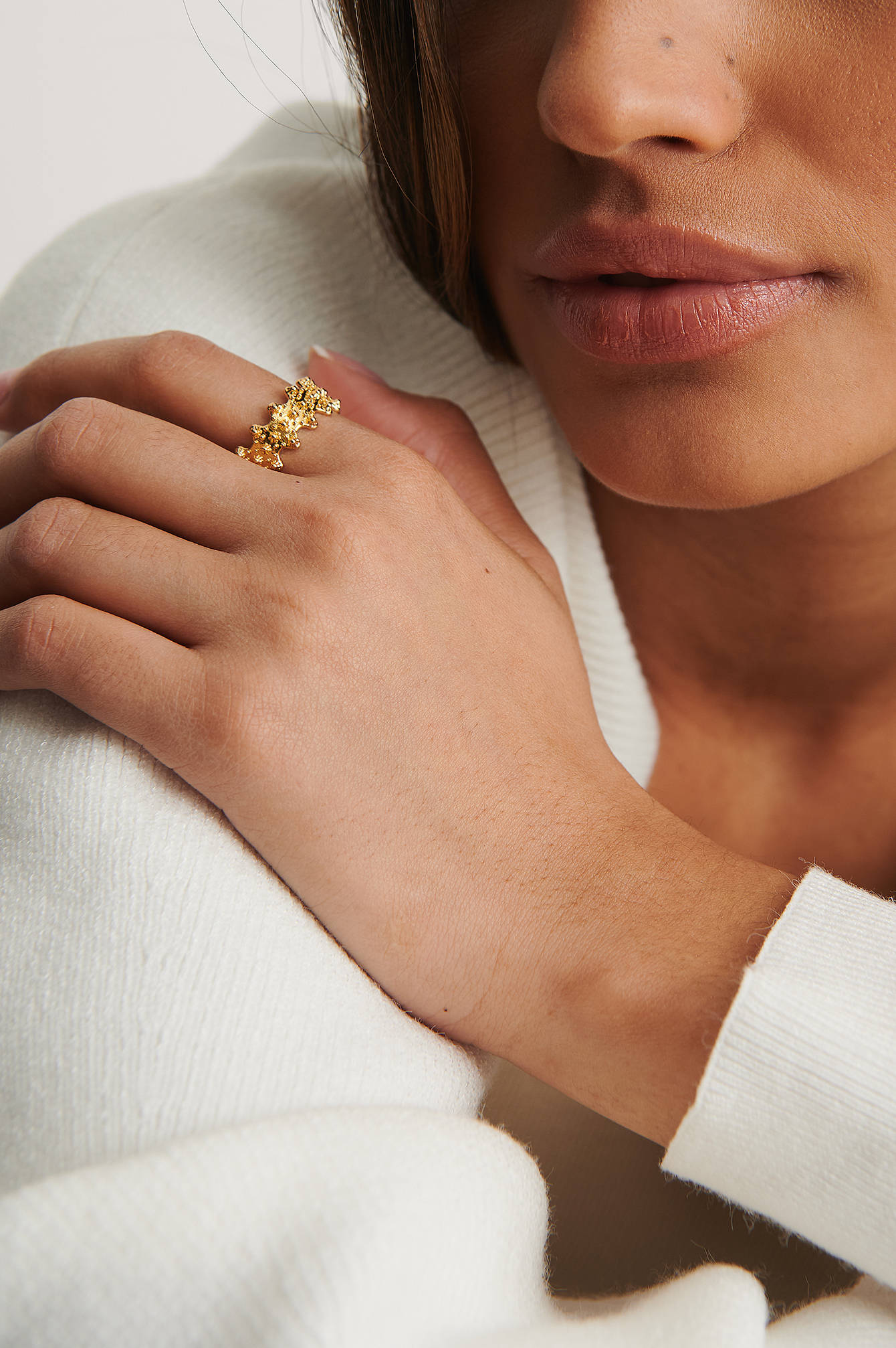 Gold 18K Gold Plated Sparkling Abstract Ring