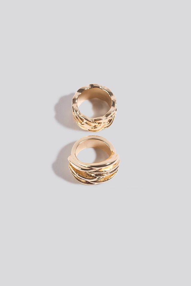 2-Pack Braided Rings Gold