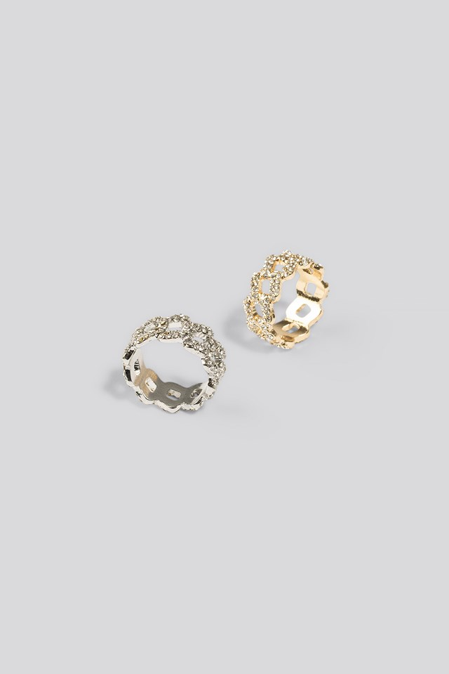 2-pack Strass Chain Rings Gold/Silver