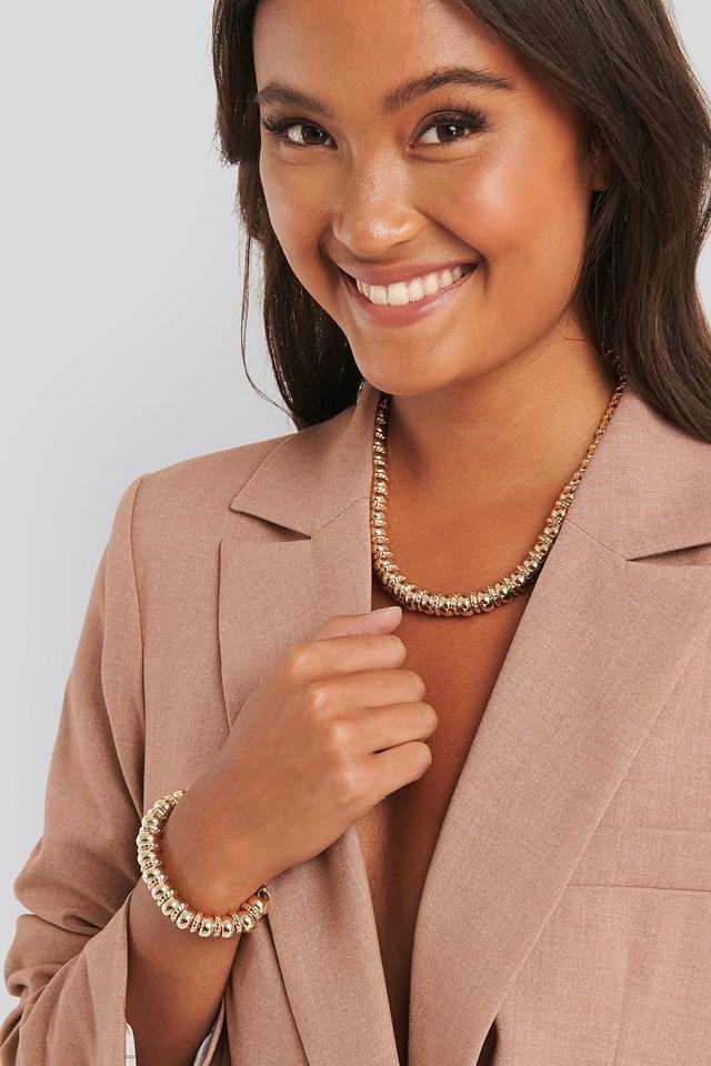 2-pack Multi Gold Pearl Necklace/Bracelet Gold