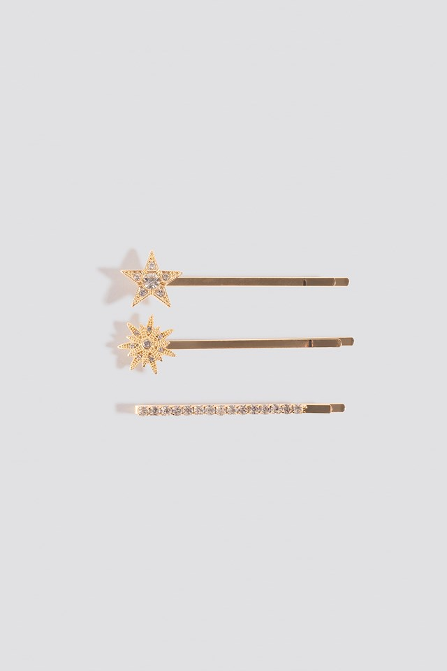 3-Pack Sparkling Hairpins Gold