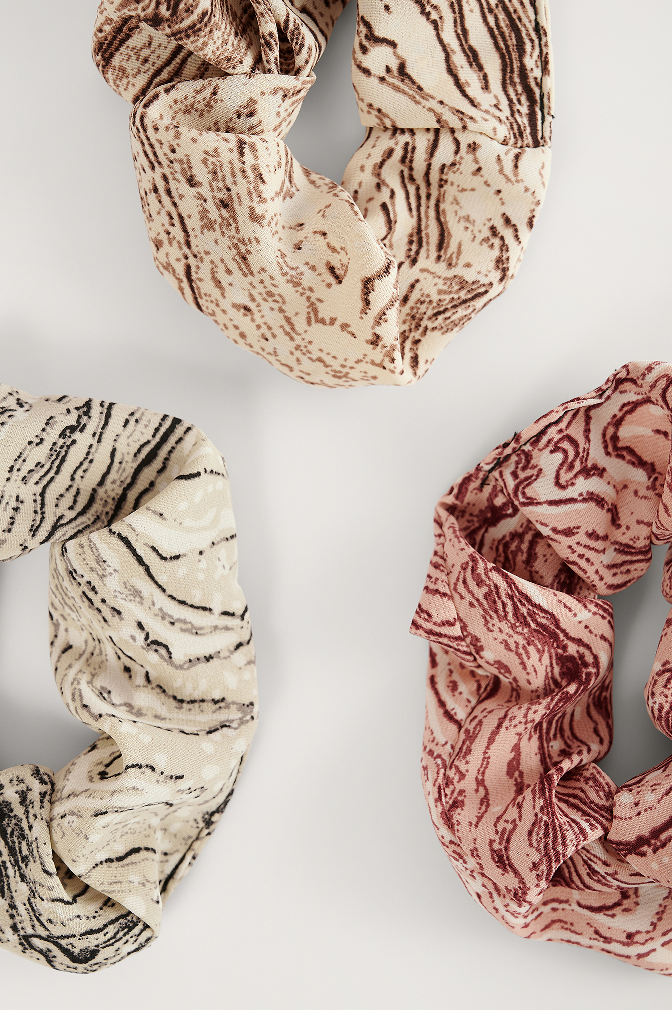Multicolor 3-Pack Marble Print Scrunchies