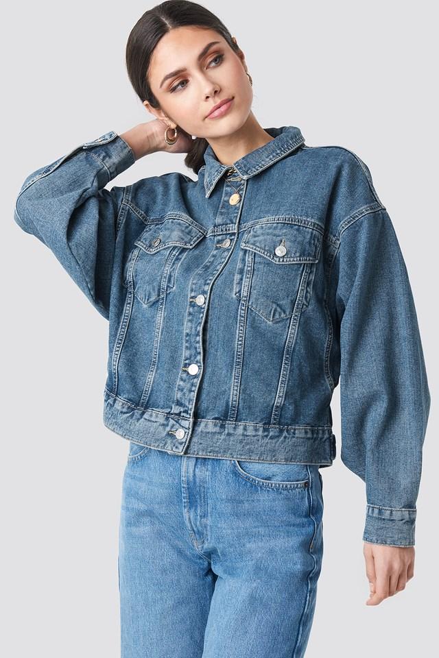 80's Trucker Denim Jacket Mid Blue
