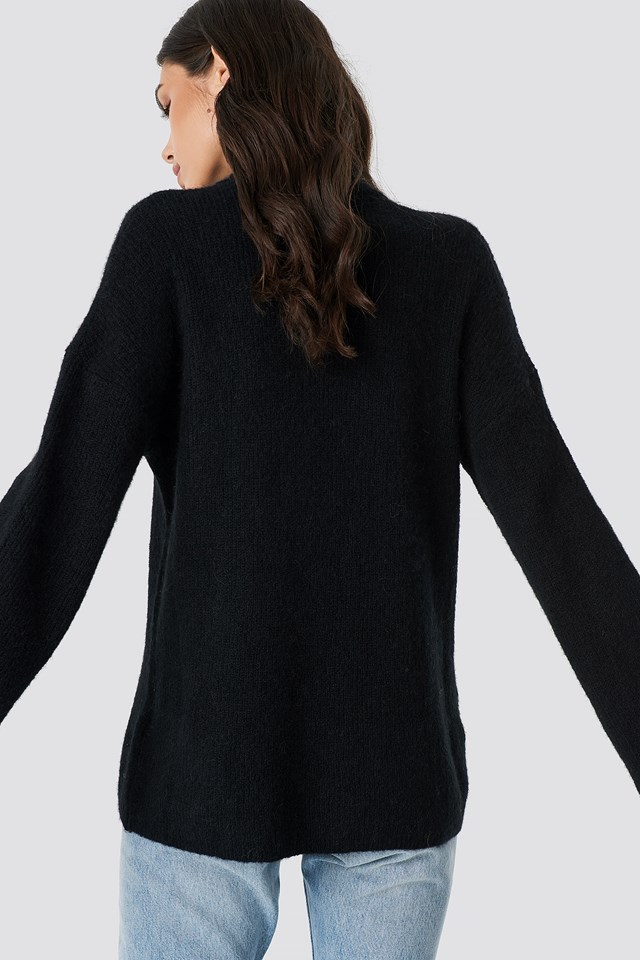 Alpaca Wool Blend High Neck Sweater Black