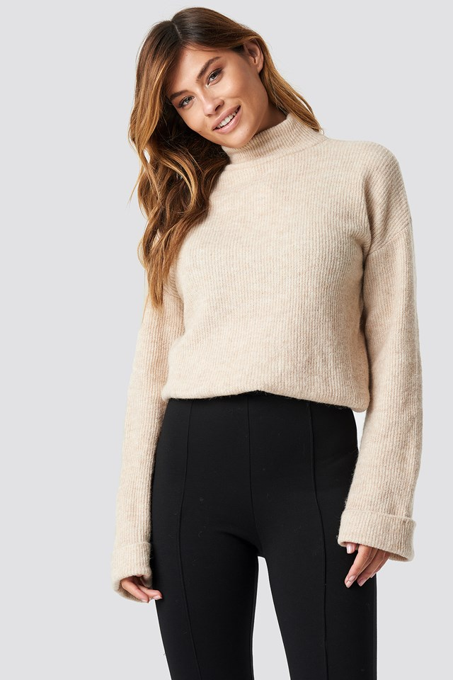 Alpaca Wool Blend High Neck Sweater Beige