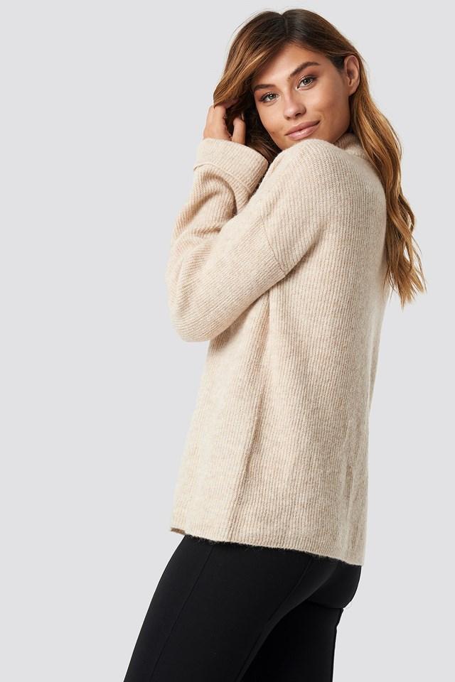 Alpaca Wool Blend High Neck Sweater Beige