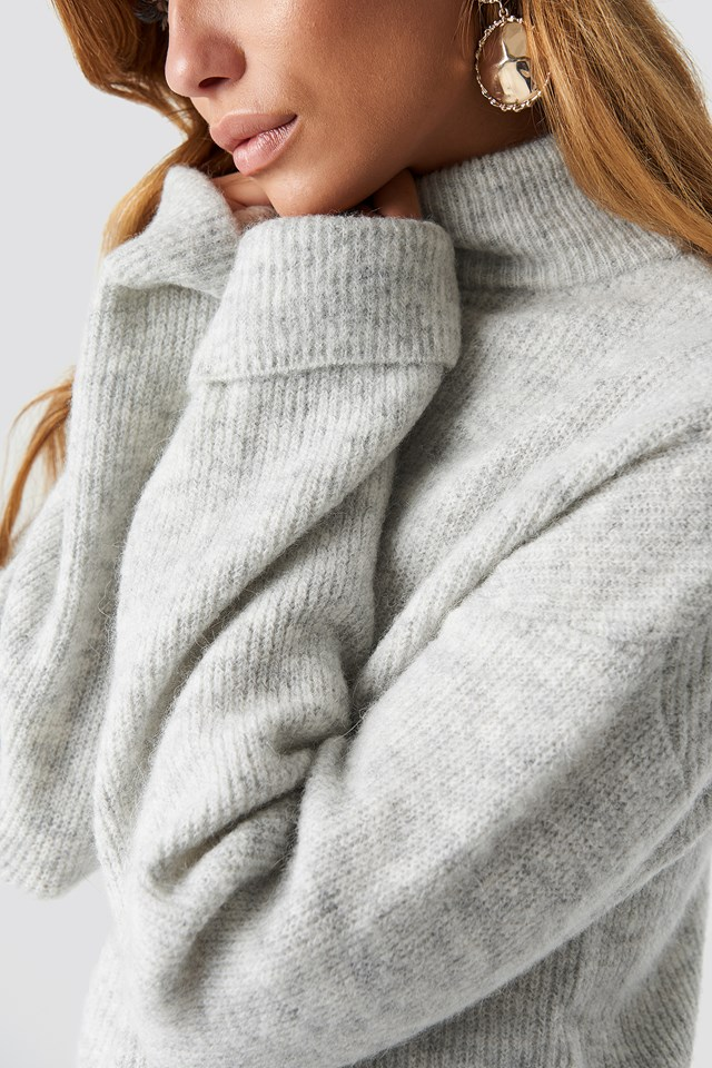 Alpaca Wool Blend High Neck Sweater Grey