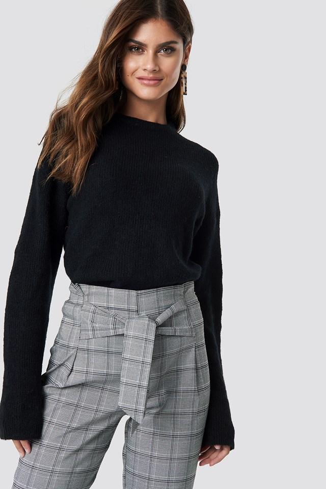 Alpaca Wool Blend Round Neck Sweater Black