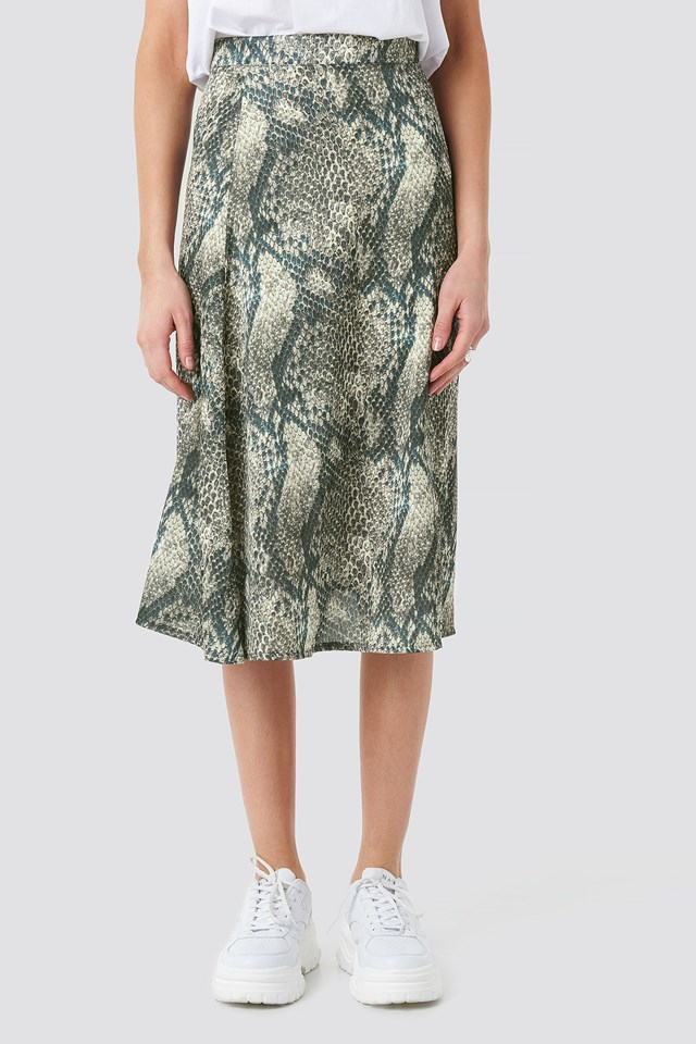 Animal Printed Midi Skirt Snake Print