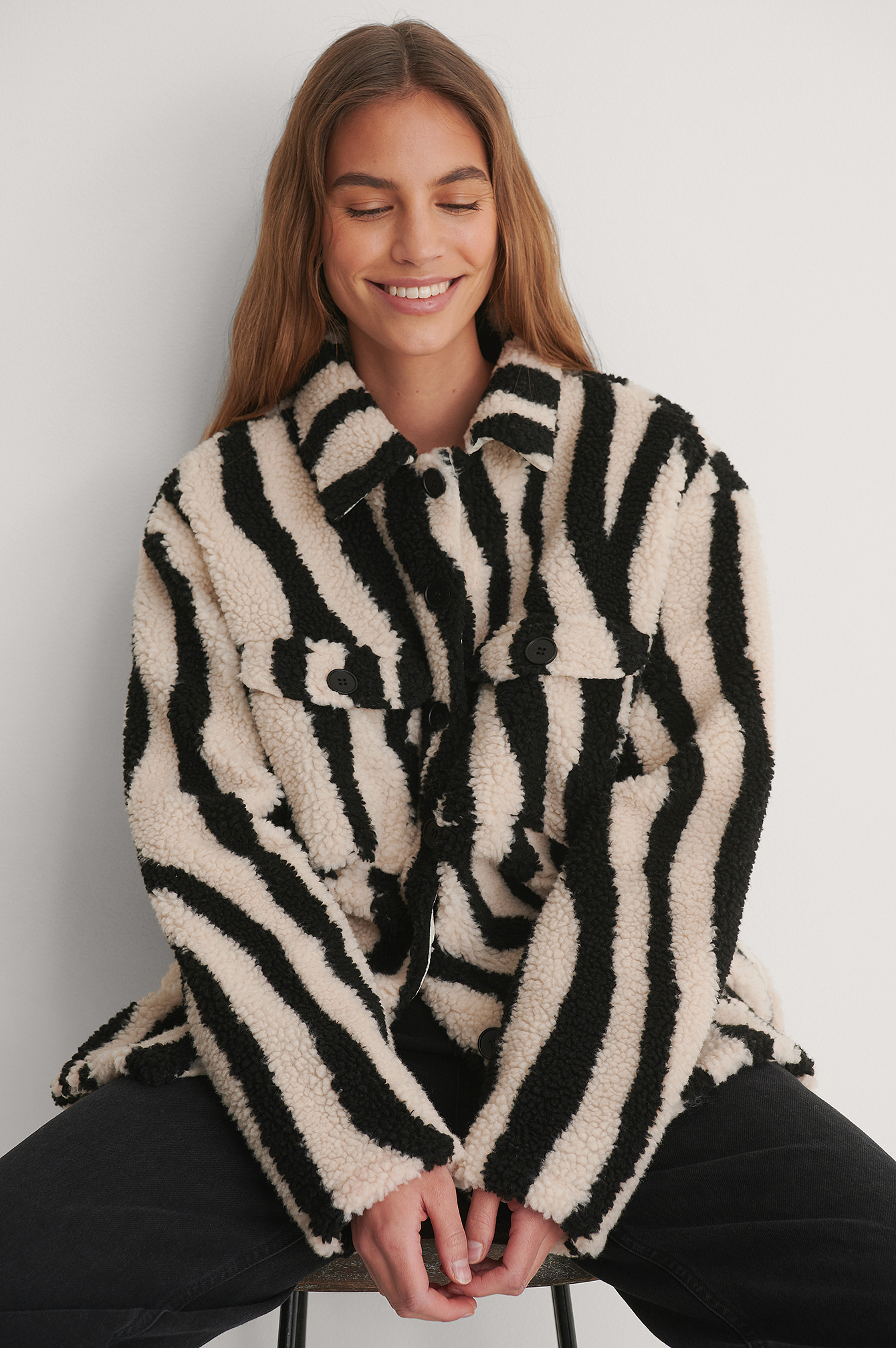 Zebra Animal Printed Shirt Jacket