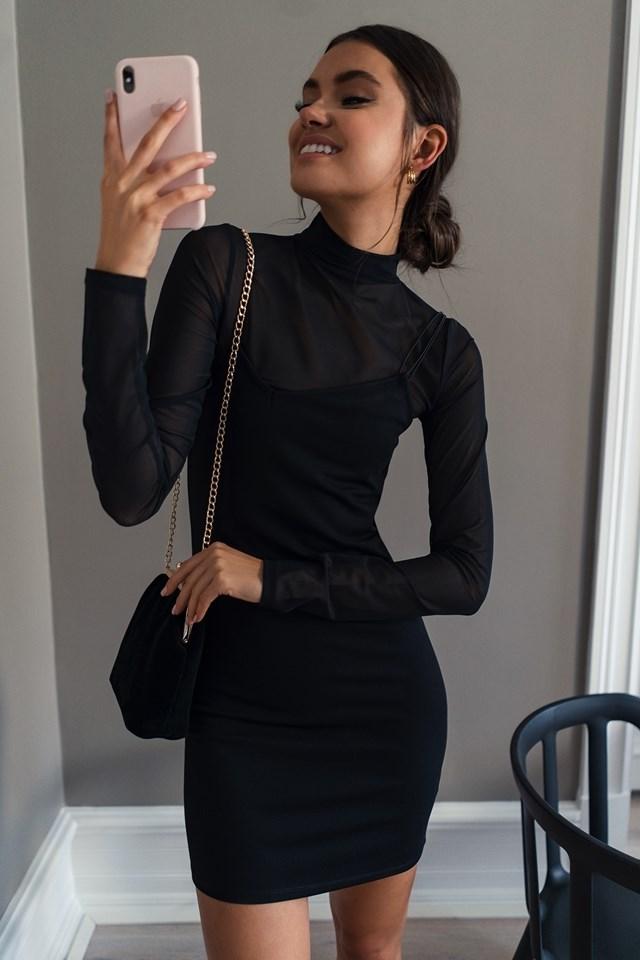 Assymetric Spaghetti Strap Dress Black