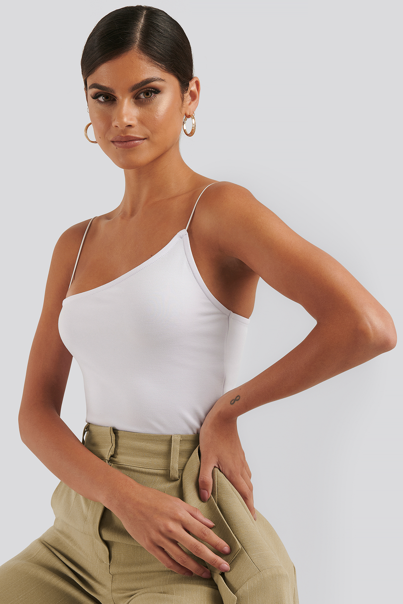 White Asymmetric Spaghetti Strap Top