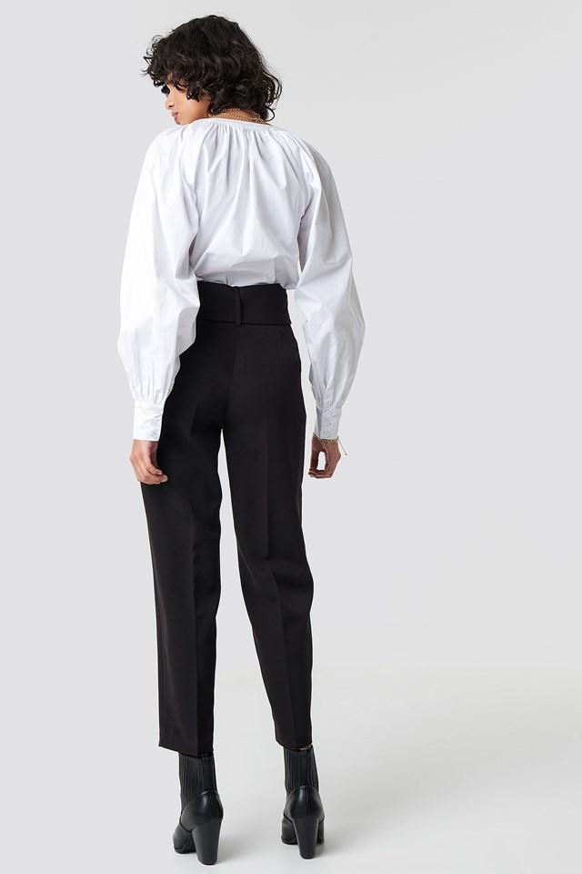 Asymmetric Belted Suit Pants Black