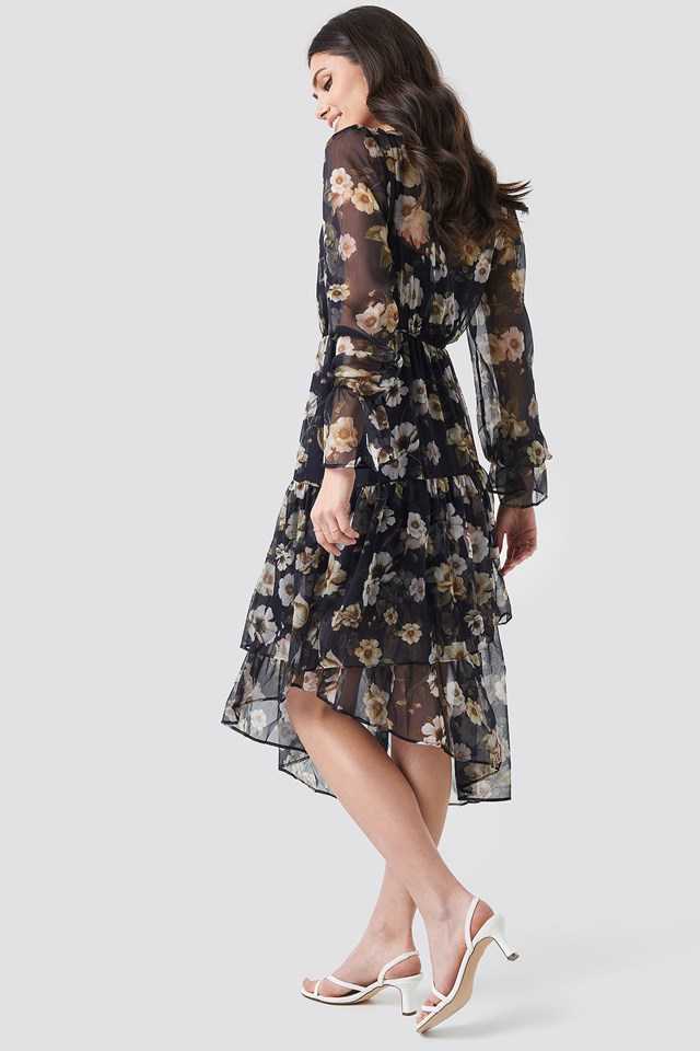 Asymmetric Chiffon Frill Dress Blue Flower Print
