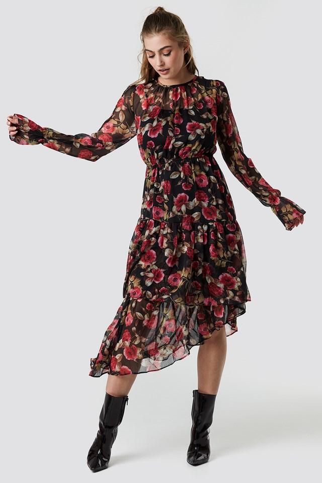 Asymmetric Chiffon Frill Dress Black/Red Flower