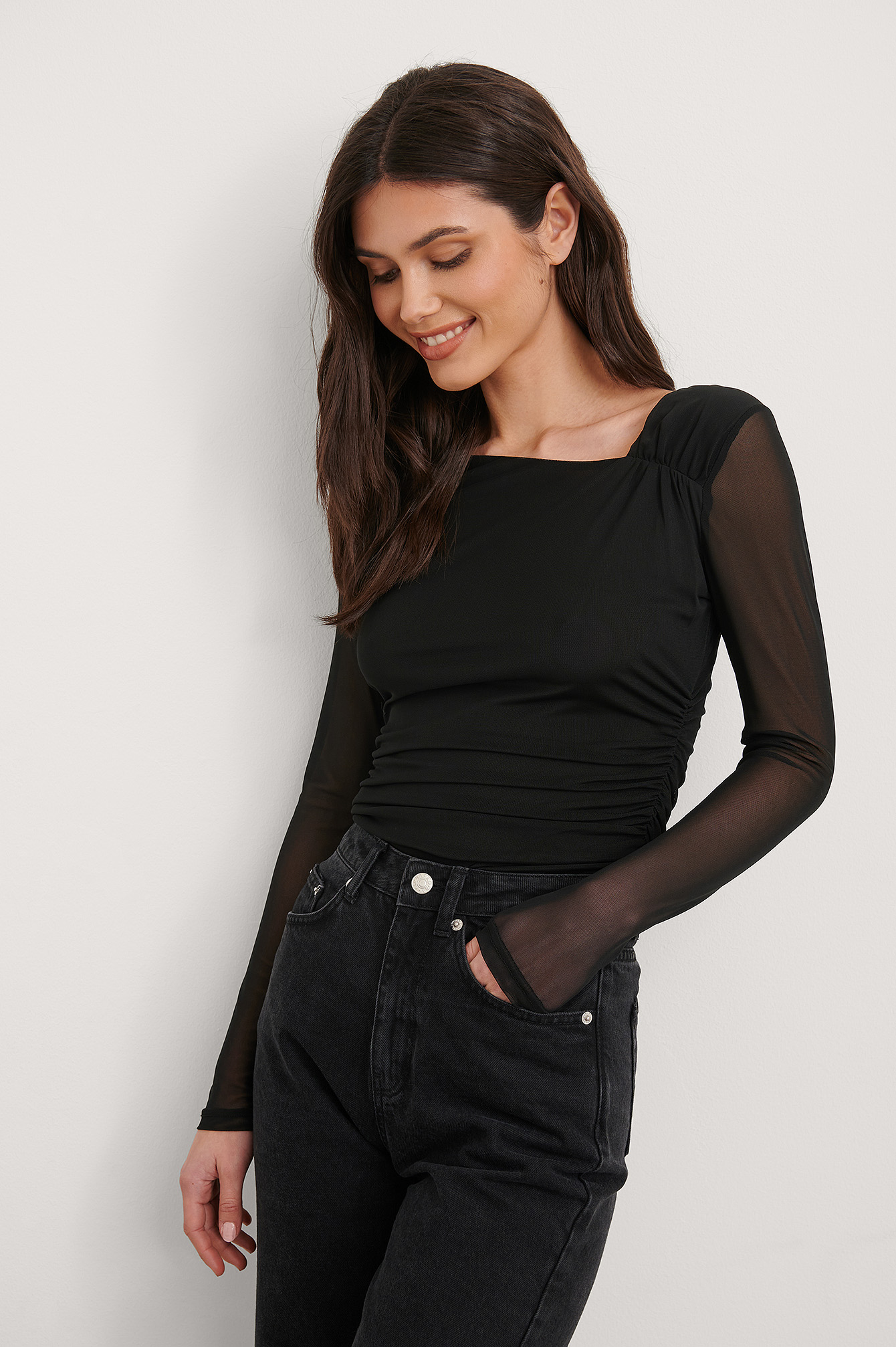 Black Asymmetric Neckline Mesh Top