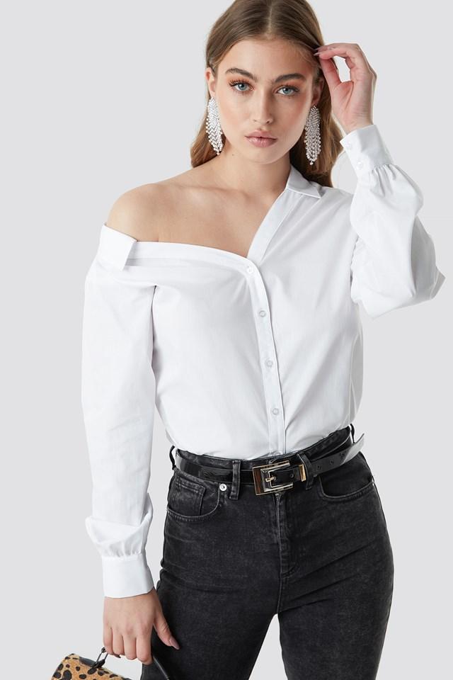 Asymmetric Shoulder Cotton-blend Shirt White