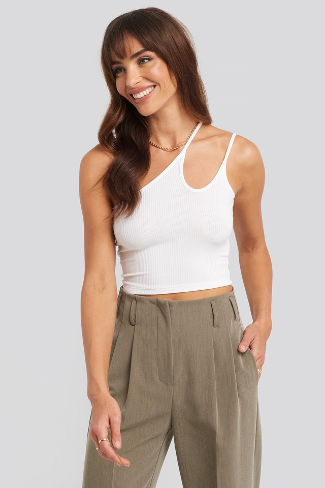 Asymmetric Strap Crop Top Optical White