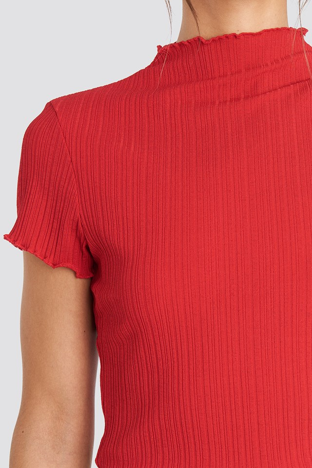 Babylock Ribbed High Neck Top Red