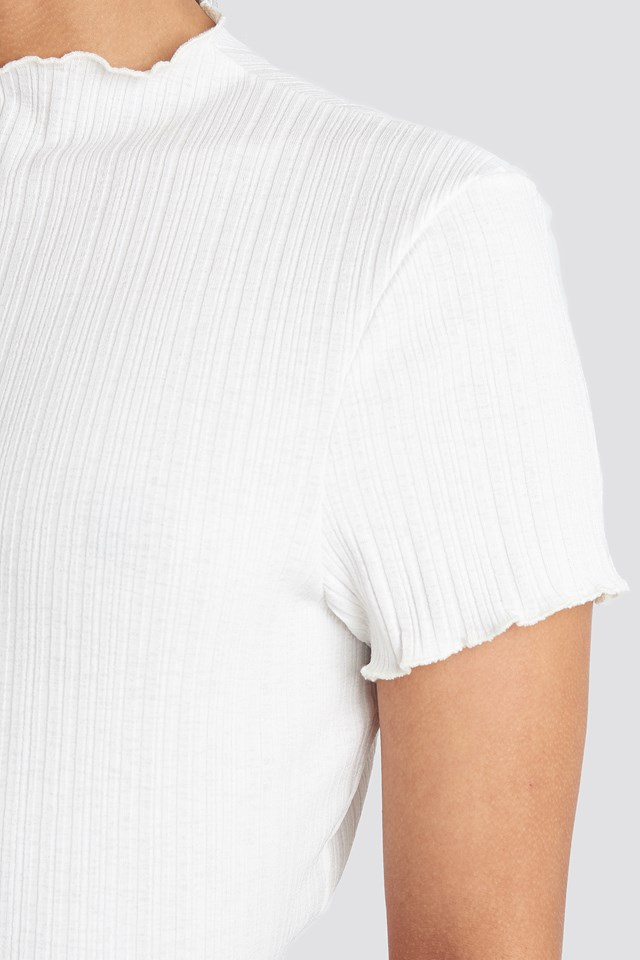 Babylock Ribbed High Neck Top Offwhite