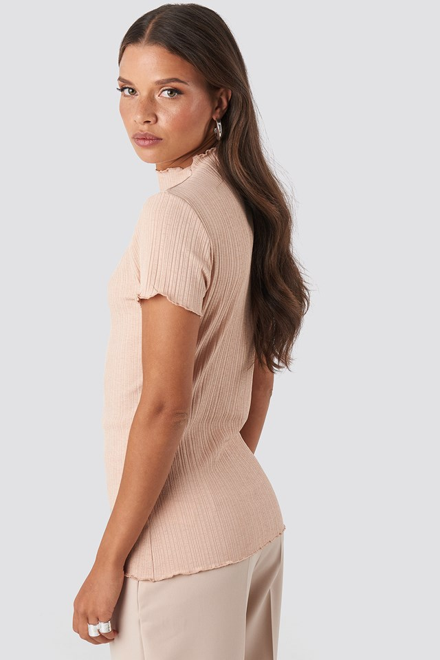 Babylock Ribbed High Neck Top Dusty Light Pink