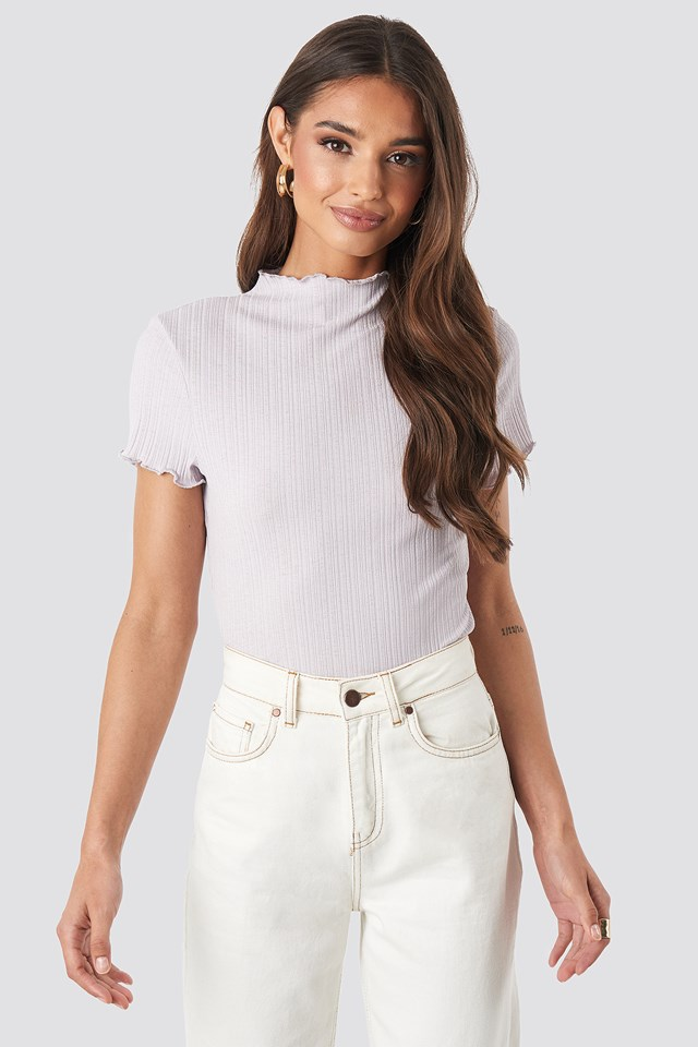 Babylock Ribbed High Neck Top Dusty Light Purple
