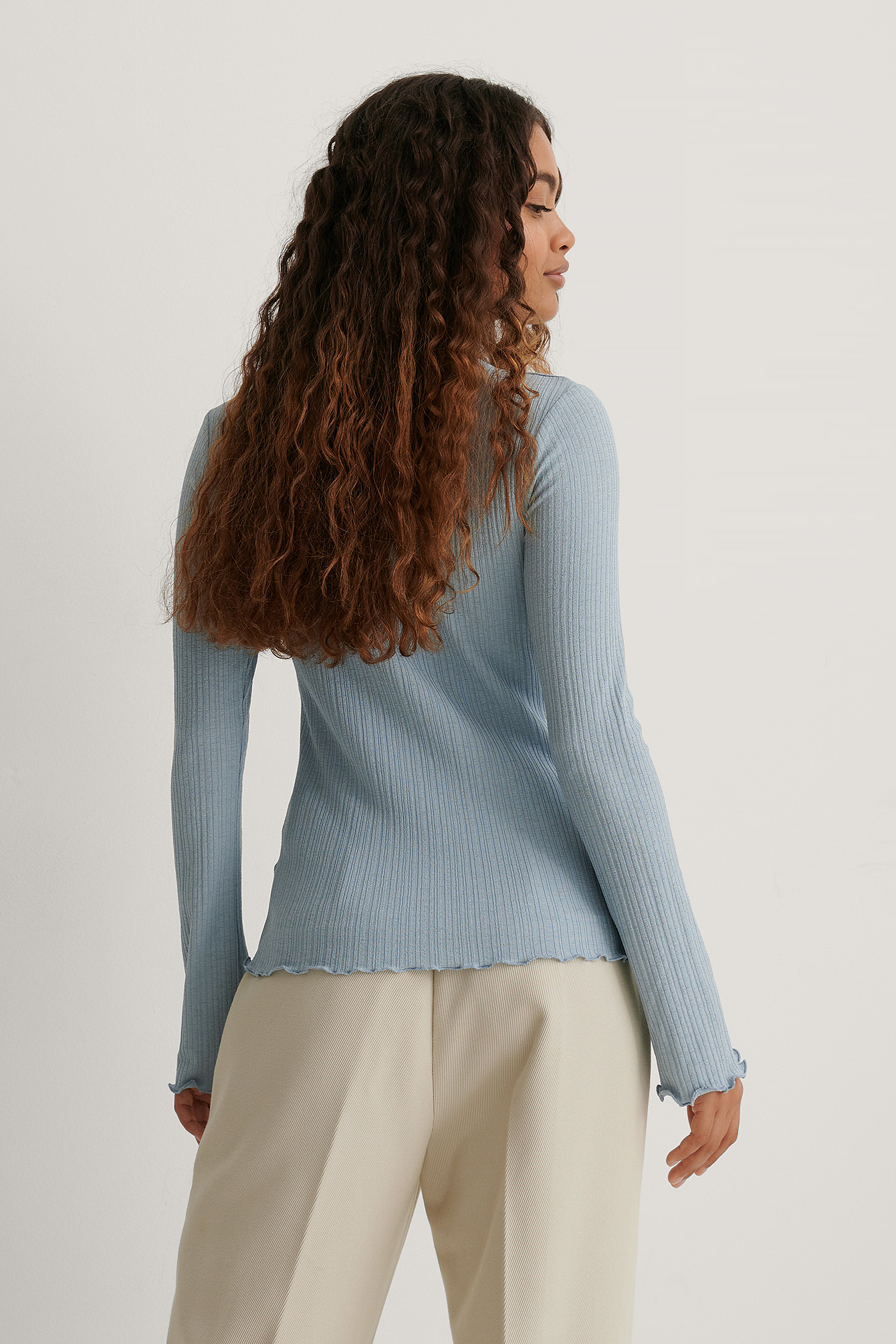 Dusty Blue Babylock Round Neck Long Sleeve Top