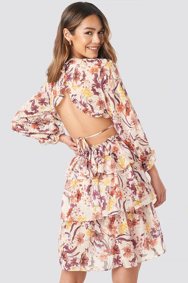 Back Detail Flounce Dress Flower Print