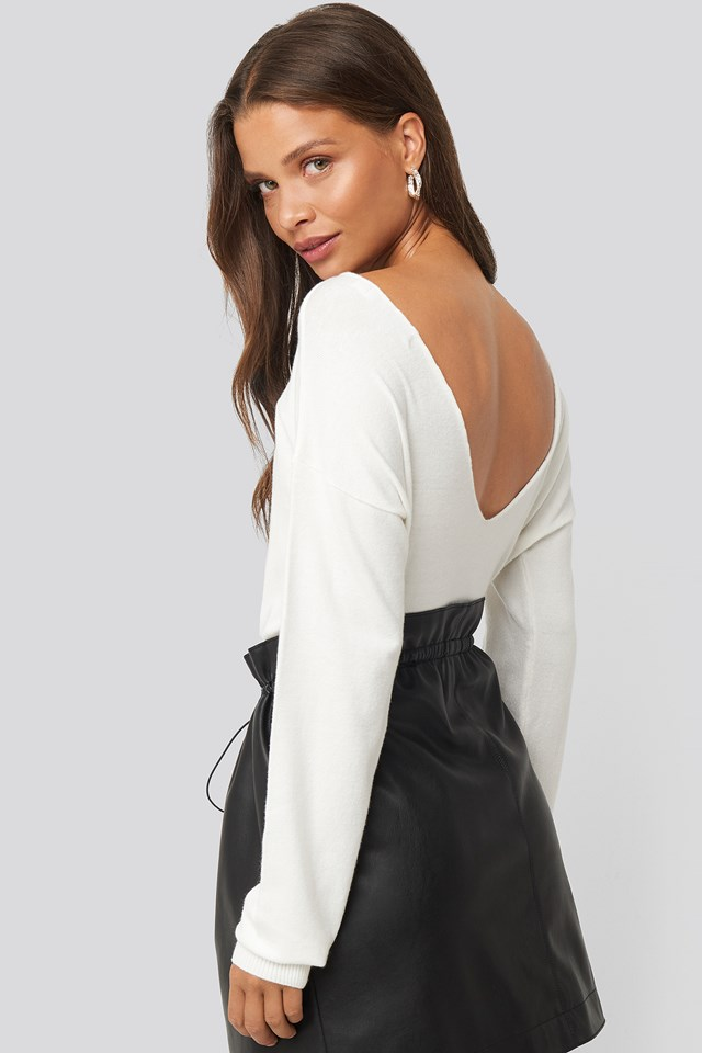 Back V-neck Cropped Sweater Offwhite