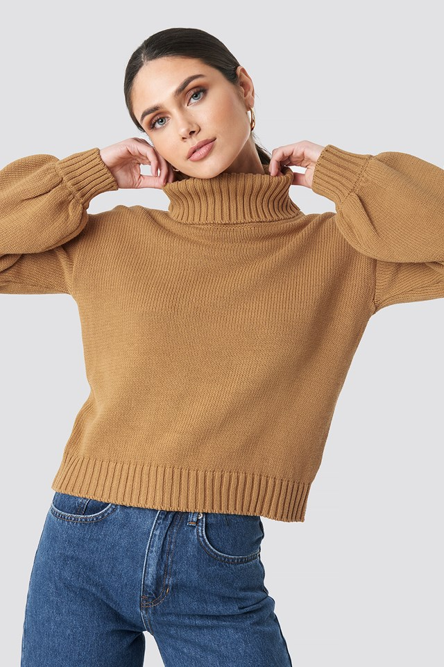 Balloon Sleeve High Neck Knitted Sweater Tan